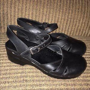 Dansko Margrethe Black Leather Clog Sandals